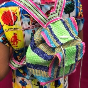 Mexican Mini Backpack Colorful Striped Woven Cute